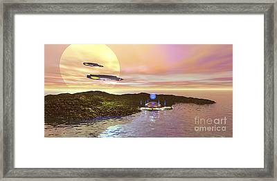 A Futuristic World On Another Planet Framed Print by Corey Ford