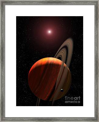 A Gas Giant Planet Orbiting A Red Dwarf Framed Print by Stocktrek Images