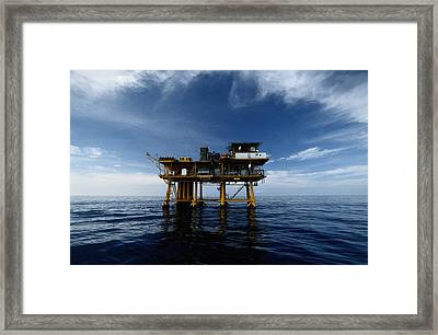 A Gas Platform In The Gulf Of Mexico Framed Print by Wolcott Henry
