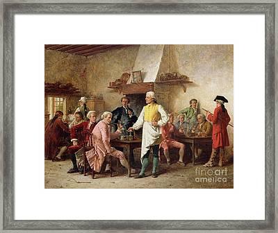 A Gentleman's Debate Framed Print by Benjamin Eugene Fichel