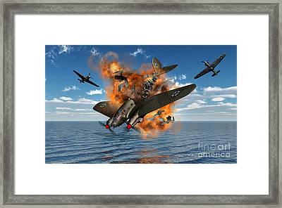 A German Heinkel Bomber Crashes Framed Print by Mark Stevenson