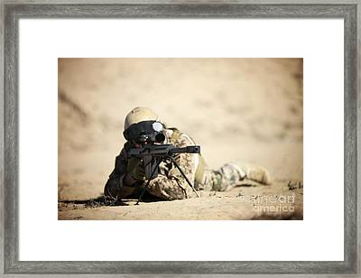 A German Soldier Sights In A Barrett Framed Print by Terry Moore