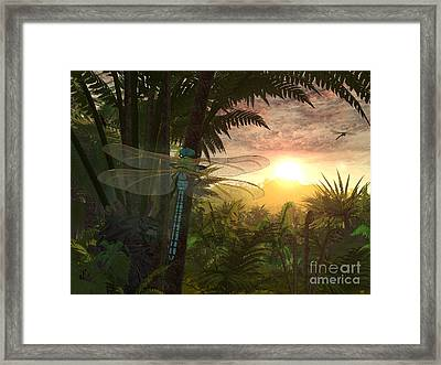 A Giant Meganeura With A 30-inch Framed Print by Walter Myers
