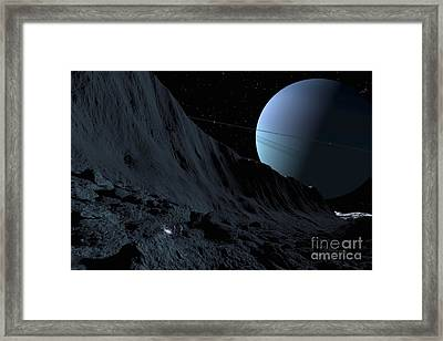 A Gigantic Scarp On The Surface Framed Print by Ron Miller