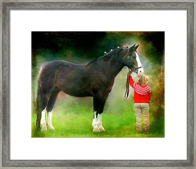 A Girl And Her Horse Framed Print by Davandra Cribbie