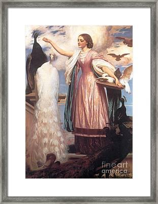 A Girl Feeding Peacocks Framed Print by Frederic Leighton