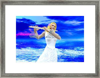 A Girl Playing Flute Framed Print