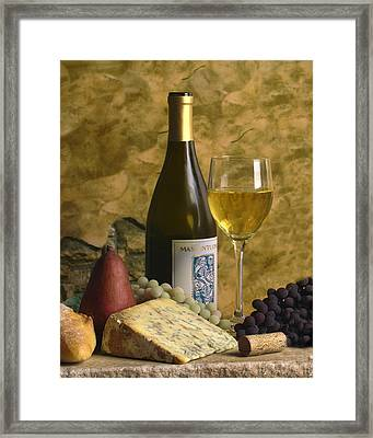 A Glass Of Chardonay Framed Print by Mel Felix