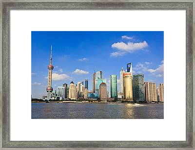 A Glorious Day At Pudong Framed Print by Tom Bonaventure