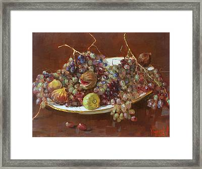 A Greek Summer Plate Framed Print by Ylli Haruni