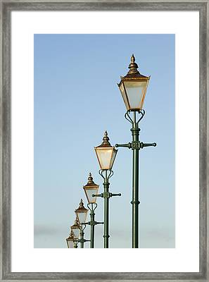A Group Of Old Gas Street Lamps Framed Print by Bill Hatcher