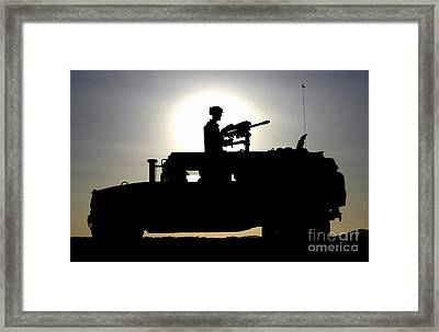 A Gunner Mans An Mk-19 40mm Machine Gun Framed Print