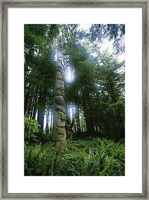 A Haida Totem Pole In Tongass National Framed Print by Rich Reid