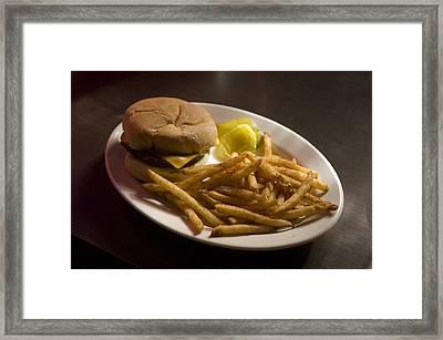 A Hamburger Lunch At A Restaurant Framed Print