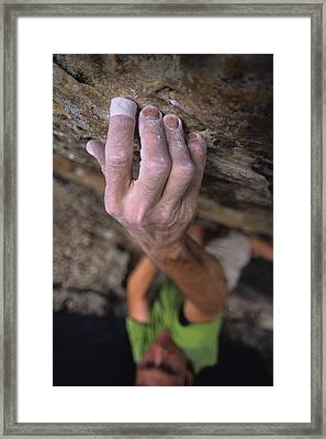 A Hand Reaches Up For A Small Hold Framed Print by Bobby Model