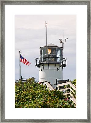A Hawk Sits Next To Weather Instruments On Top Of Chatham Lighth Framed Print by Matt Suess