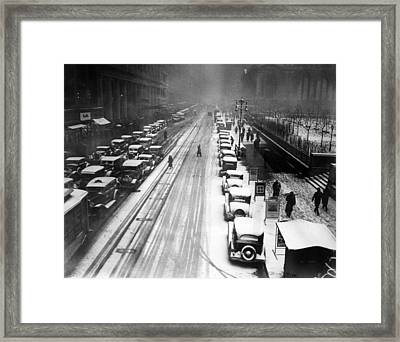 A Heavy Snowfall, 42nd Street, Looking Framed Print by Everett
