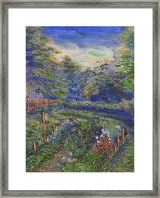 Framed Print featuring the painting A Holiday In August Outside A Bed And Breakfast by Denny Morreale