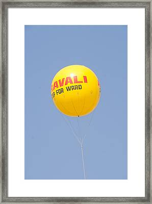 Framed Print featuring the photograph A Hot Air Balloon In The Blue Sky by Ashish Agarwal