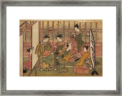 A Japanese Brothel In Shinagawa, Shows Framed Print by Everett