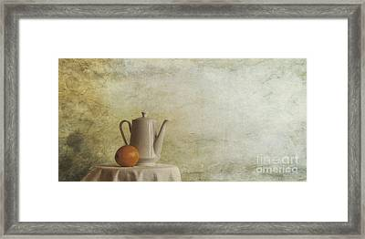 A Jugful Tea And A Orange Framed Print by Priska Wettstein