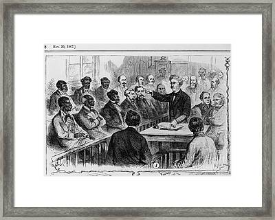 A Jury Of Whites And Blacks Framed Print by Photo Researchers