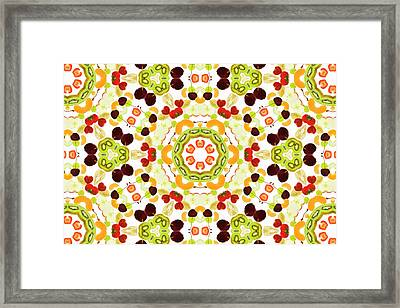 A Kaleidoscope Image Of Fresh Fruit Framed Print by Andrew Bret Wallis
