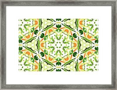 A Kaleidoscope Image Of Fresh Vegetables Framed Print by Andrew Bret Wallis