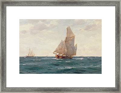 A Ketch And A Brigantine Off The Coast Framed Print by Thomas J Somerscales