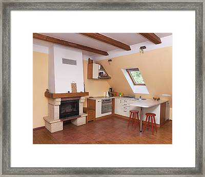 A Kitchen Corner Of A Living Room. Open Framed Print by Jaak Nilson