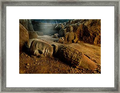 A Kneeling Archer Rises Among Chinas Framed Print by O. Louis Mazzatenta