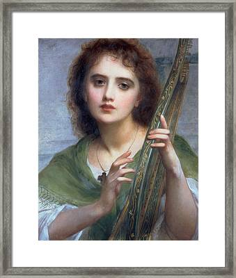 A Lady With Lyre Framed Print by Charles Edward Halle