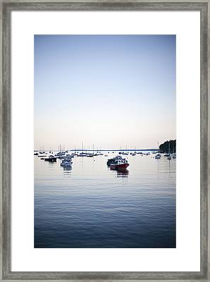 A Large Group Of Boats Float In A Maine Framed Print by Hannele Lahti