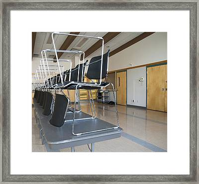 A Large Open Hall With Stackable Framed Print
