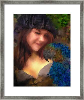 A Lass With Her Parrot Framed Print by Jill Balsam