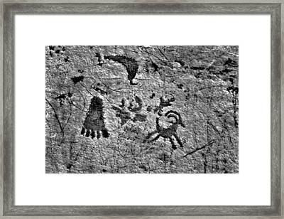 A Library Of Petroglyphs - Atlatl Rock Framed Print by Christine Till