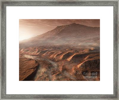 A Light Fog Forms In A Desiccated Gully Framed Print by Steven Hobbs
