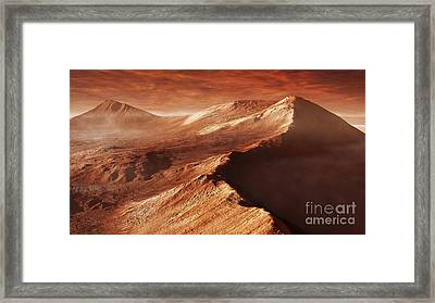A Light Winters Frost Forms In Mojave Framed Print by Steven Hobbs