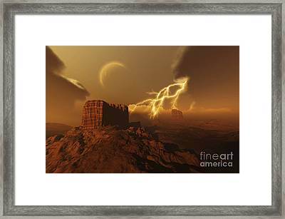 A Lightning Storm Over A Desert Lights Framed Print by Corey Ford