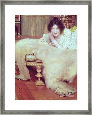 A Listener - The Bear Rug Framed Print by Sir Lawrence Alma-Tadema