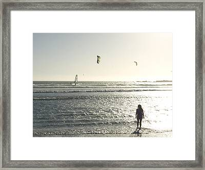 A Little Girl Plays In The Late Framed Print by Stacy Gold