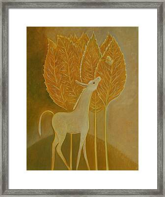 Framed Print featuring the painting A Little Golden Song by Tone Aanderaa