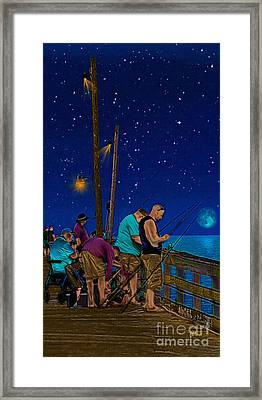 A Little Night Fishing At The Rodanthe Pier Framed Print by Anne Kitzman