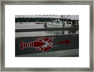 A Lobster Sign Backed By A Lobster Boat Framed Print