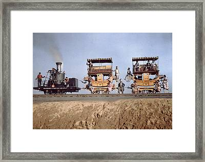 A Locomotive And Two Coaches Framed Print by Charles Martin