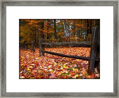 A Log Fence In A Carpet Of Fall Leaves Framed Print by Chantal PhotoPix