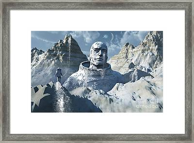 A Lone Astronaut Stares At A Statue Framed Print