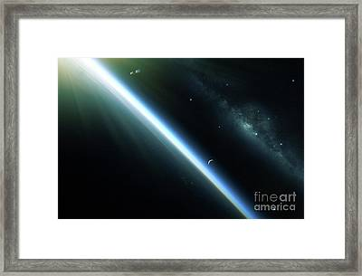 A Lone Satellite Drifts Silently Framed Print by Kevin Lafin