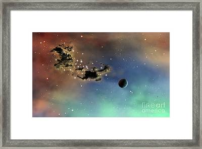 A Lonely Planet Is Lit By Two Stars Framed Print by Brian Christensen