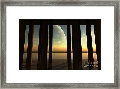 A Lonesome Explorer Stands On The Edge Framed Print